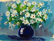 Blue Vase Painting Posters - Beautiful Daisies  Poster by Patricia Awapara