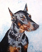 Pallet Knife Framed Prints - Beautiful Doberman Framed Print by Tatjana Popovska