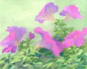 K Joann Russell Art - Beautiful Flowers Art Colorful Pink Petunias Garden Floral by K Joann Russell