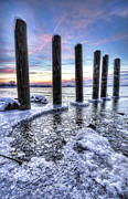 Grand Haven Prints - Beautiful Frozen Shoreline Print by Joe Gee