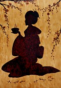 Cherry Blossoms Framed Prints - Beautiful Geisha Coffee Painting Framed Print by Georgeta  Blanaru