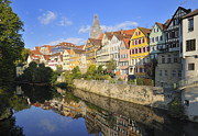 Beautiful German Town Tuebingen - Neckar Waterfront Print by Matthias Hauser