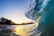 Blueprint Photo Prints - Beautiful Hawaiian Shorebreak II Print by Quincy Dein