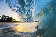 Blueprint Photo Prints - Beautiful Hawaiian Shorebreak Print by Quincy Dein