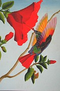 Fineart Paintings - Beautiful Hummingbird by Brian Leverton