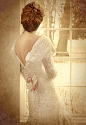 Sequin Metal Prints - Beautiful Lady in Sequin Gown Looking out Window Metal Print by Jill Battaglia
