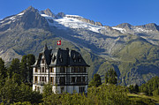 Alp Photos - Beautiful mansion in the swiss alps by Matthias Hauser