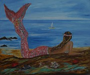 Posters On Paintings - Beautiful Mermaid by Leslie Allen