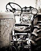 Steering Wheel Prints - Beautiful Oliver Row Crop old tractor Print by Marilyn Hunt
