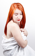 Half-length Photo Posters - Beautiful redhead studio shot Poster by Gabriela Insuratelu