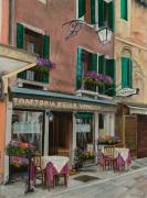 Italian Restaurant Painting Posters - Beautiful Restaurant In Venice Poster by Charlotte Blanchard