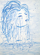 Woman Head Prints - Beautiful Sea Woman watercolor painting Print by Georgeta  Blanaru