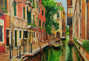 Canal Painting Originals - Beautiful Side Canal In Venice by Charlotte Blanchard