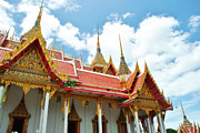 Architecture Sculpture Metal Prints - Beautiful temple Metal Print by Somchai Suppalertporn