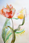 Orchards Painting Prints - Beautiful tulips flowers  Print by Regina Jershova