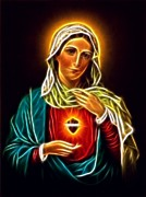 Mother Mary Digital Art Framed Prints - Beautiful Virgin Mary Sacred Heart Framed Print by Pamela Johnson