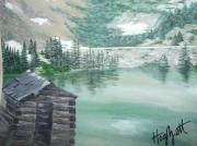 Beautiful Creek Painting Originals - Beautiful Water Cabin by Laura Hogzett