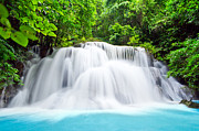 Mongkol Chakritthakool Metal Prints - Beautiful Water Fall In The Forest Metal Print by Mongkol Chakritthakool