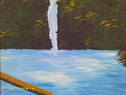 Mountain Climbing Paintings - Beautiful Waterfall by Juliet Nidhan