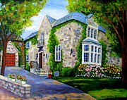 Long Street Painting Posters - Beautiful Westmount Home Poster by Carole Spandau
