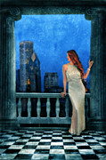 Sophisticated Woman Posters - Beautiful Woman in Evening Gown with City Night View Poster by Jill Battaglia