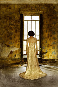Period Clothing Prints - Beautiful Woman in Lace Gown in Abandoned Room Print by Jill Battaglia