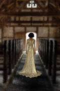 Period Clothing Prints - Beautiful Woman in Lace Gown in an old Rural Chapel Print by Jill Battaglia