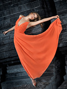 Fancy-full Posters - Beautiful Woman in Orange Dress Poster by Oleksiy Maksymenko
