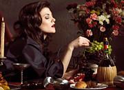 Beautiful Woman On A Festive Table Print by Oleksiy Maksymenko
