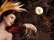 Blowing Hair Prints - Beautiful Woman with Colorful Hair Extensions Print by Oleksiy Maksymenko