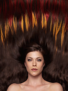 Treatment Posters - Beautiful Woman with Hair Extensions in a Shape of Fire Poster by Oleksiy Maksymenko