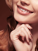 Chin Up Photo Prints - Beautiful Young Smiling Woman mouth Print by Oleksiy Maksymenko