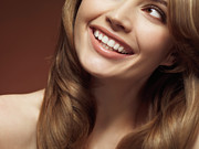 Light Brown Posters - Beautiful Young Smiling Woman Poster by Oleksiy Maksymenko