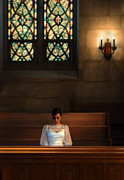 Girl Looking Down Posters - Beautiful Young Woman in Church Pew Poster by Jill Battaglia