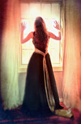 Distress Posters - Beautiful Young Woman in Gown by Window Poster by Jill Battaglia