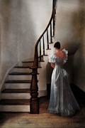 Looking Down Framed Prints - Beautiful Young Woman Standing in Gown by Stairs Framed Print by Jill Battaglia