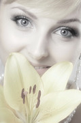 Makeup Photo Posters - Beautiful Young Woman with a Yellow Lily Poster by Oleksiy Maksymenko