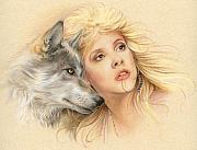 Wolf Pastels Framed Prints - Beauty and the Beast Framed Print by Johanna Pieterman