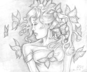 David Drawings - Beauty and the Butterflies by David Martinez