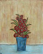 Modern Folk Art Paintings - Beauty Grows by Rain Ririn