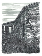 Abandoned House Drawings Prints - Beauty in Decay Print by Jonathan Baldock