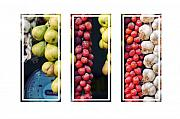 Italian Market Framed Prints - Beauty in tomatoes garlic and pears triptych Framed Print by Silvia Ganora