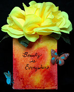 Affirmation Mixed Media Posters - Beauty is Everywhere Poster by Paula Brett