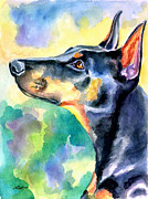 Doberman Pinscher Puppy Paintings - Beauty by Lyn Cook