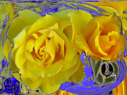 Abstracted Digital Art Prints - Beauty of a Rose Print by Ruth Edward Anderson