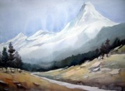 Himalaya Paintings - Beauty of Himlayan Peaks by Samiran Sarkar