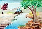 Waterscape Drawings Posters - Beauty of nature Poster by Tanmay Singh