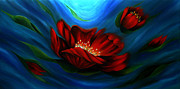Landscape Greeting Cards Painting Prints - Beauty of Red Flower Print by Uma Devi