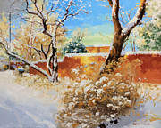 Adobe Buildings Prints - Beauty of winter Santa Fe Print by Gary Kim