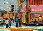 Cafes Paintings - Beautys Luncheonette Montreal by Carole Spandau